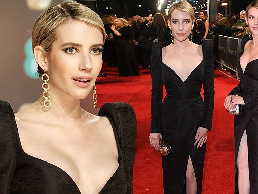 BAFTA: Emma Roberts wears black dress for Time's Up