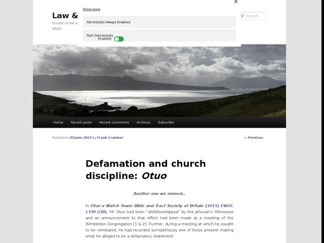 Defamation and church discipline: Otuo