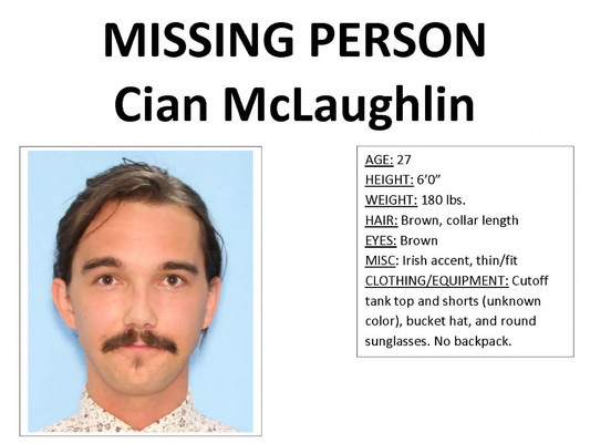 Wyoming park rangers conduct search for missing Irishman Cian McLaughlin