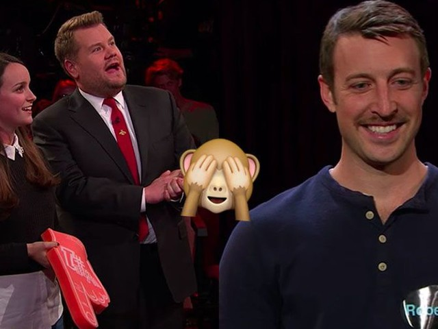James Corden surprises staff member with gloriously awkward game of 'Live Tinder'