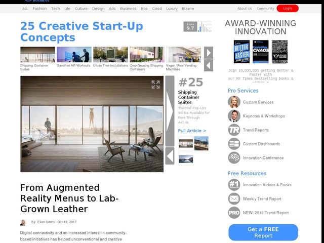 25 Creative Start-Up Concepts - From Augmented Reality Menus to Lab-Grown Leather (TrendHunter.com)