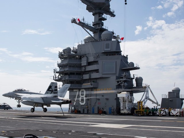 The Navy's newest aircraft carrier got a long-missing piece of gear in December, helping solve a problem the Navy secretary has bet his job on fixing