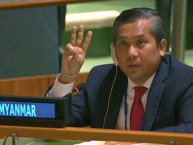 Myanmar's UN ambassador fired after making salute in support of anti-coup protests