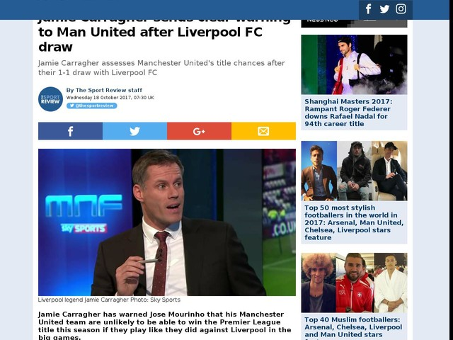 Jamie Carragher sends clear warning to Man United after Liverpool FC draw