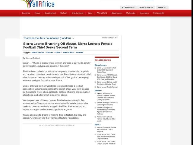Sierra Leone: Brushing Off Abuse, Sierra Leone's Female Football Chief Seeks Second Term