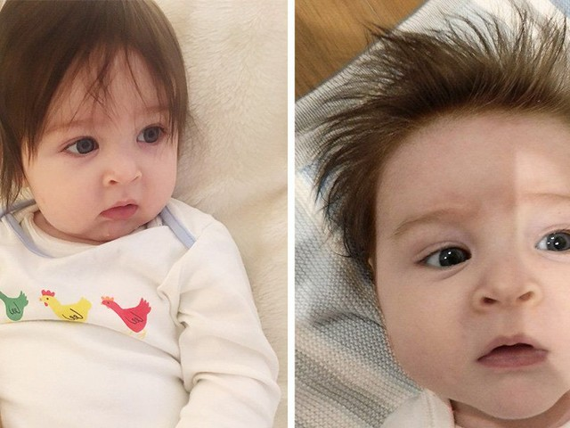 Baby has become a mini celebrity thanks to his long hair