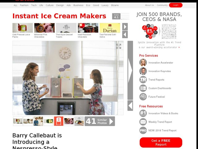 Instant Ice Cream Makers - Barry Callebaut is Introducing a Nespresso-Style System for Ice Cream (TrendHunter.com)