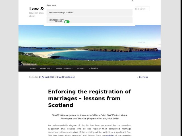 Enforcing the registration of marriages – lessons from Scotland