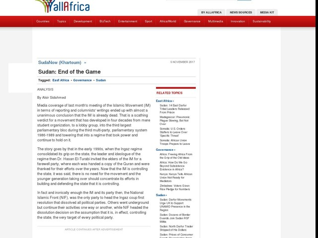 Sudan:End of the Game For Islamic Movement