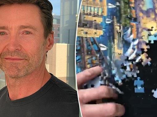 Homesick Hugh Jackman builds jigsaw of Sydney Opera House - before destroying it in frustration