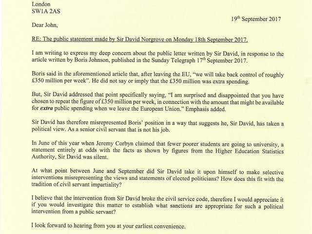 Nadine Complains to Civil Service Chief About Statto's Boris Blunder