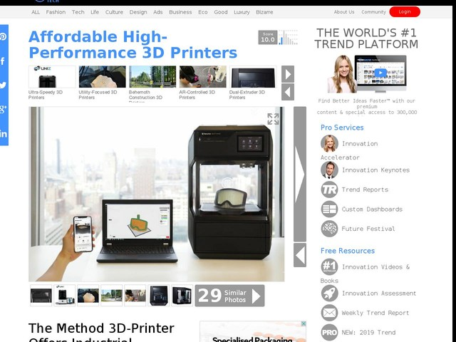 Affordable High-Performance 3D Printers - The Method 3D-Printer Offers Industrial Performance (TrendHunter.com)