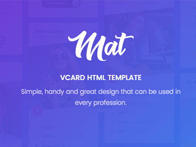 Matecard materialize vcardcvresume html template virtual mat vcard resume template virtual business card fbccfo