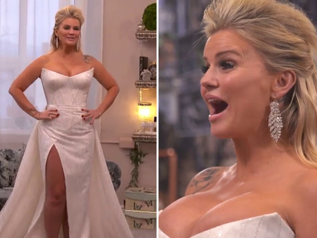 Kerry Katona reveals first look at her wedding dress ahead of her fourth marriage to personal trainer Ryan Mahoney