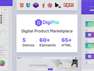 DigiPro - Digital Marketplace HTML Template with Dashboard (Shopping)