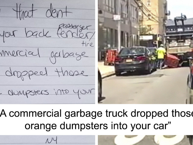 Garbage Truck Hits A Parked Car And Drives Off, Witness Leaves A Note Offering Footage Of The Accident