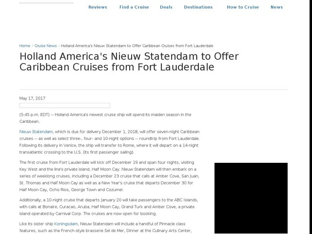 Holland America's Nieuw Statendam to Offer Caribbean Cruises from Fort Lauderdale