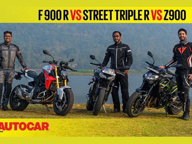 Review: BMW F 900 R vs Z900 vs Street Triple R comparison video