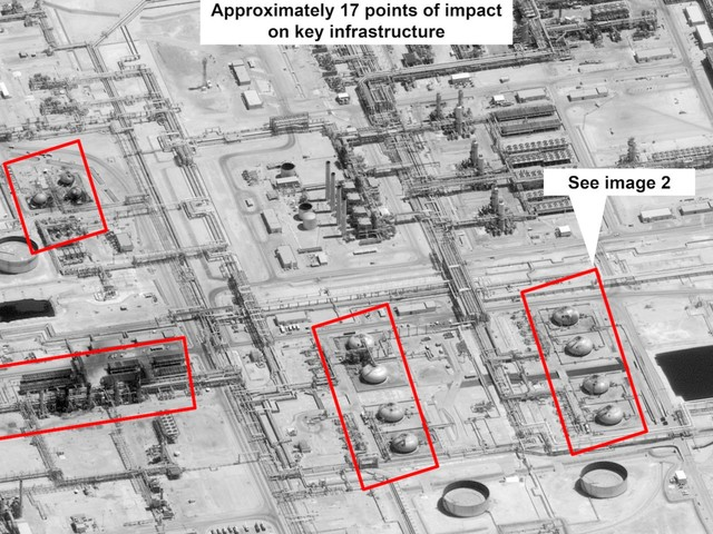 Trump officials claim that satellite imagery and the direction of the Saudi oil field attack prove that Iran was to blame
