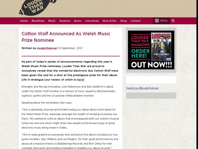 Cotton Wolf Announced As Welsh Music Prize Nominee