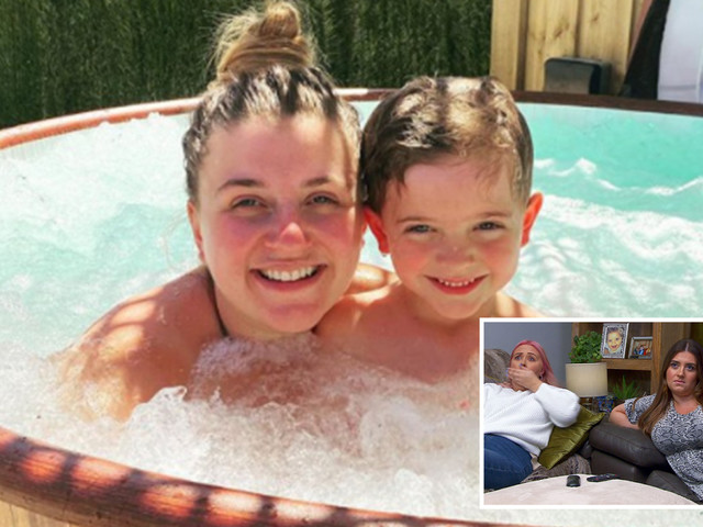 Gogglebox's Izzi Warner goes make-up free as she takes a dip in her hot tub with son Bobby