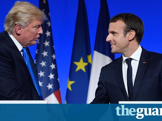 Donald Trump offers hand of friendship to Emmanuel Macron on Paris visit