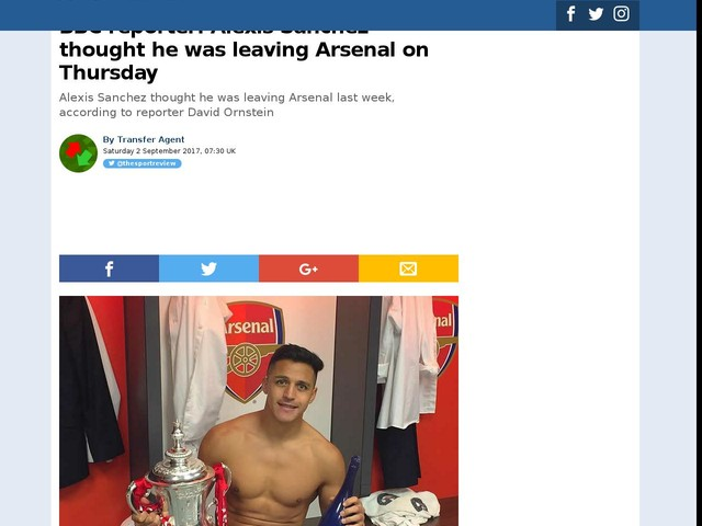 BBC reporter: Alexis Sanchez thought he was leaving Arsenal on Thursday