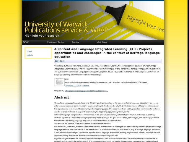 A Content and Language Integrated Learning (CLIL) Project : opportunities and challenges in the context of heritage language education