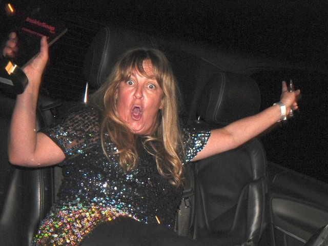 EastEnders' Lorraine Stanley falls into her taxi after partying hard at Inside Soap Awards