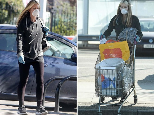 Caprice masks up to head to Sainsbury's for essentials including two toilet brushes during coronavirus lockdown