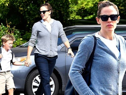 Jennifer Garner sticks with a comfortable cardigan while running errands around LA with her son