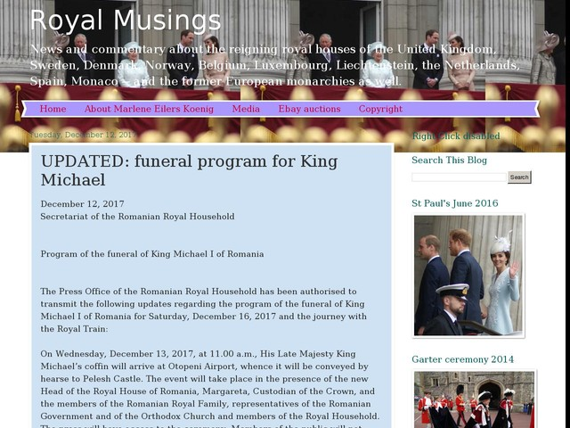 UPDATED: funeral program for King Michael