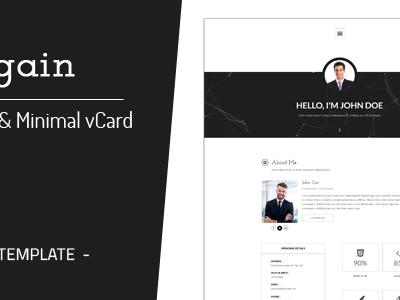 Regain - Clean & Minimal Personal vCard Template (Virtual Business Card)
