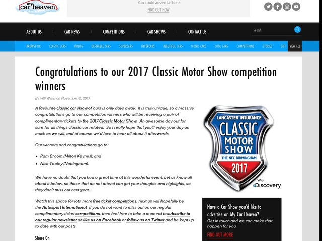 Congratulations to our 2017 Classic Motor Show competition winners