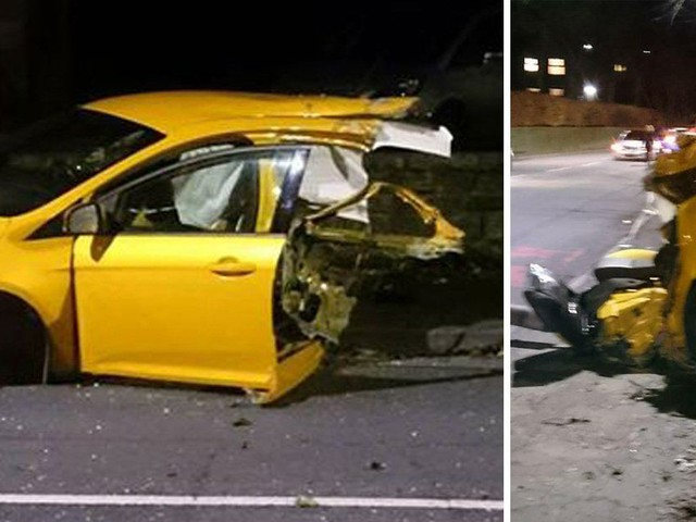 Ford Focus split in half after crashing into bus stop 'at 70mph'