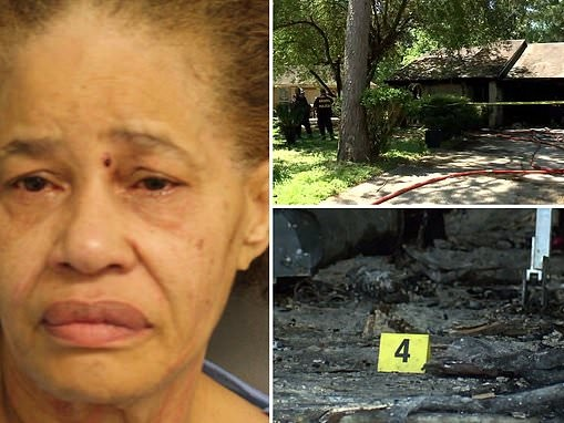Woman 'sets herself on fire' moments before she is arrested by police for killing her husband