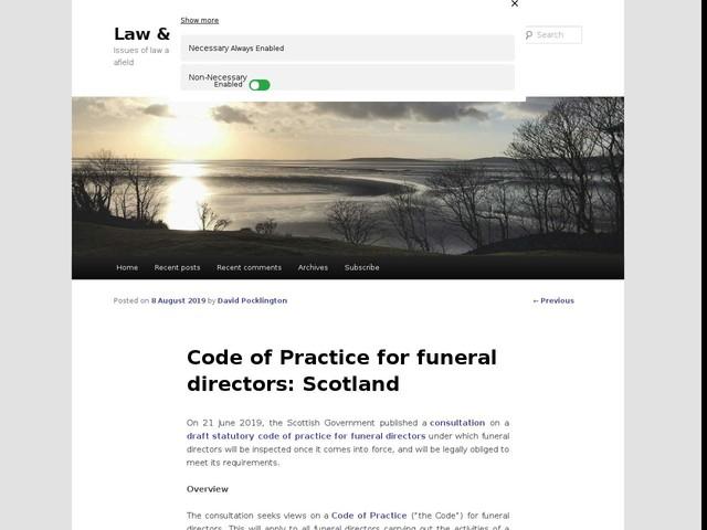 Code of Practice for funeral directors: Scotland