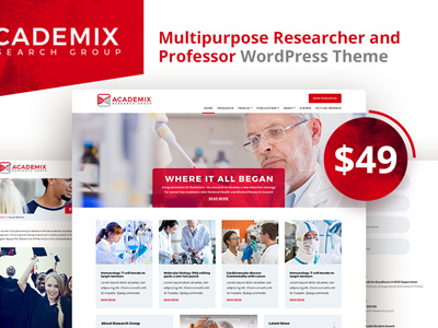 Academix - Multipurpose Researcher and Professor WordPress Theme (Education)