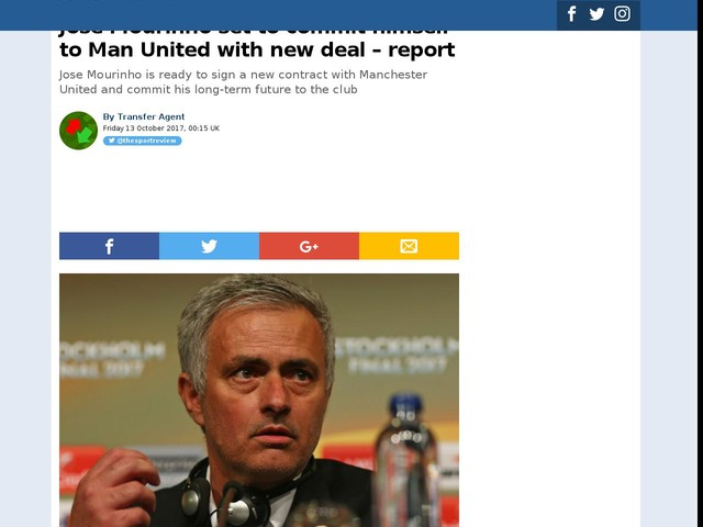 Jose Mourinho set to commit himself to Man United with new deal – report
