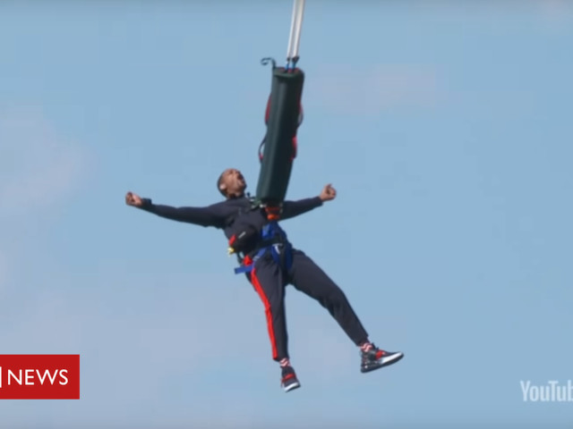 Will Smith bungee jumps out of helicopter for 50th birthday