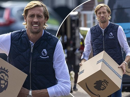Peter Crouch transforms into a delivery driver for the day as he films new football-inspired advert