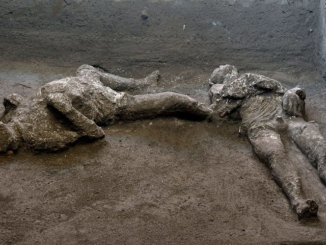 The eerie remains of a master and slave frozen in time unearthed in the Roman city of Pompeii