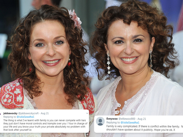 Nadia Sawalha branded a 'bitter liar' by sister Julia as she likes messages about the family feud