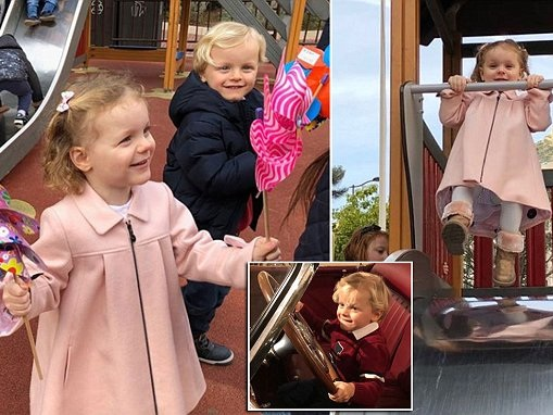 Monaco's royal twins enjoy a day out at playground