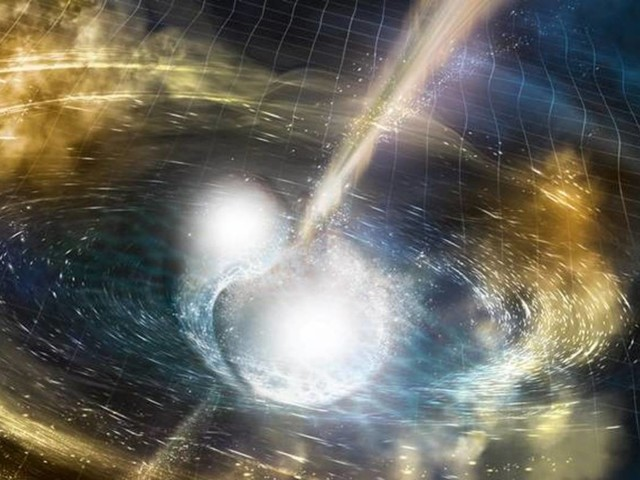Neutron stars shower gold on universe in big bang, felt on Earth as 100-second grav wave