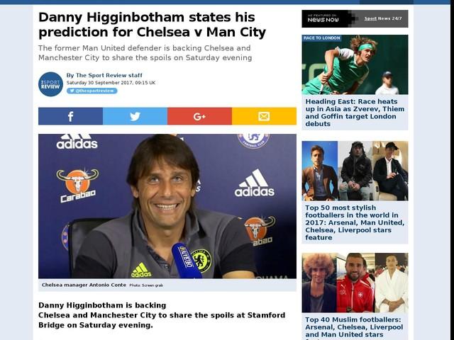 Danny Higginbotham states his prediction for Chelsea v Man City