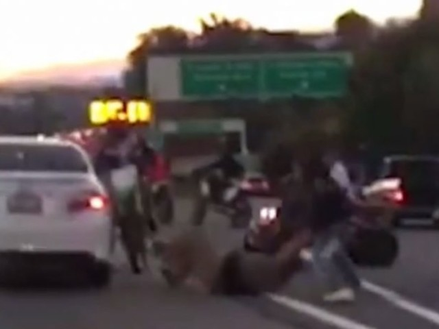 Video Shows Biker Gang Pounding Driver On California Highway