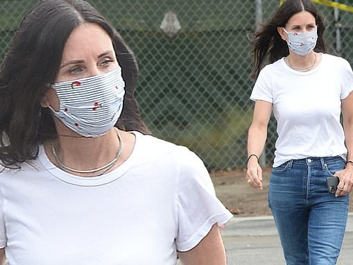 Courteney Cox masks up in summer chic look as she hits farmers market in Malibu with friends