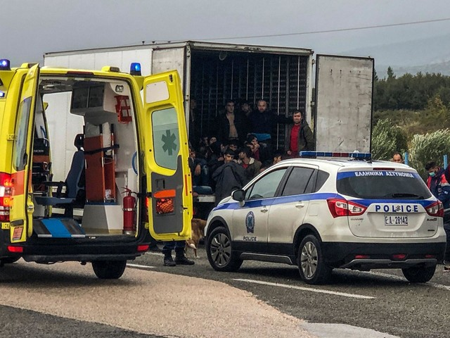 41 migrants found alive in refrigerated lorry in Greece