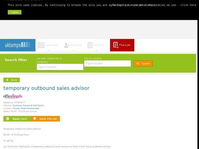 temporary outbound sales advisor